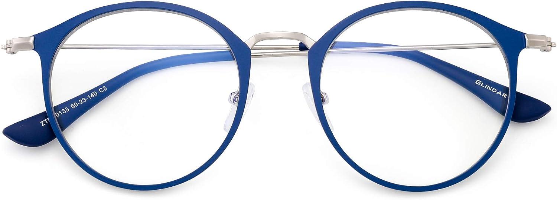 GLINDAR Lunettes Optique Ordinateur Rondes R/étro Cadre Cercle en M/étal Verres Bloquant Lumi/ère Bleue pour Femmes R/éduisent Fatigue Oculaire