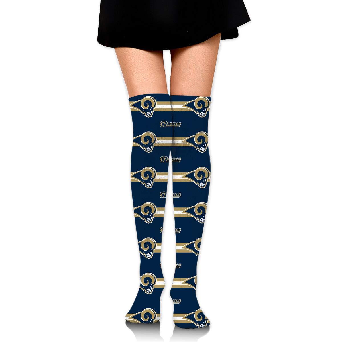 Sorcerer Custom Girls Over Knee High Boot Stockings Leg Warmers Los Angeles Rams Women's Polyester Thigh High Socks Gift by Sorcerer