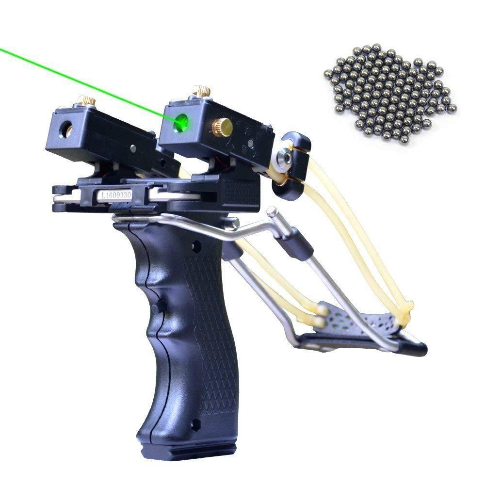 Tongtu Laser Slingshot Heavy Duty Wrist Rocket Slingshot Sling Shot for Hunting Adult Outdoor Catapult Slingshot with 2 Rubber Bands 50 Slingshot Ammo (Green Laser Version) by Tongtu