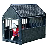 K&A Company House Pet Durable Rattan Dog Cage Kennel Storage Roof Shelter Rest Inclined Yard New Crate Outdoor Animal Backyard
