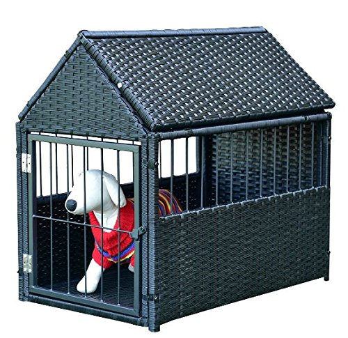 K&A Company House Pet Durable Rattan Dog Cage Kennel Storage Roof Shelter Rest Inclined Yard New Crate Outdoor Animal Backyard by K&A Company (Image #5)