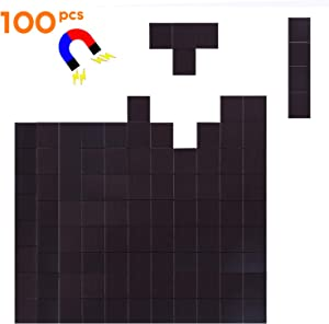 Flexible Magnet Squares with Adhesive by House Again – Perfect for Crafts & DIY Projects, Hanging & Organizing Light Objects at Home Office or Warehouse, 100Pcs - Square