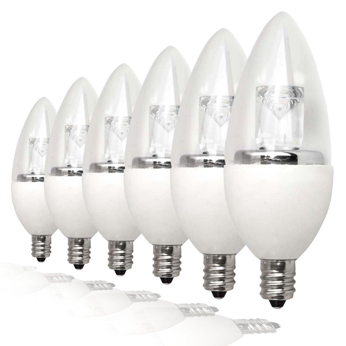 TCP LDCT25W50K6 25 Watt Equivalent LED Decorative Torpedo Light Bulbs, Small Candelabra Based, Energy Star Certified, Dimmable, Daylight (6 Pack)