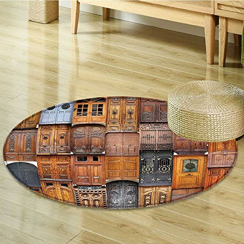 Nalahomeqq Rustic Decor Collection Doors from Valencia Spain Daylight Mediterranean Residence Entering Old City Image Polyester Fabric Room Circle carpet Peru Ivory Gray-Diameter 170cm(67'') by Nalahomeqq