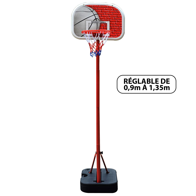 BUMBER DN-Technology Atlanta canestro da basket unisex bambino, Bianco/Rosso JT2D6|#JT2D PANBB305-881G