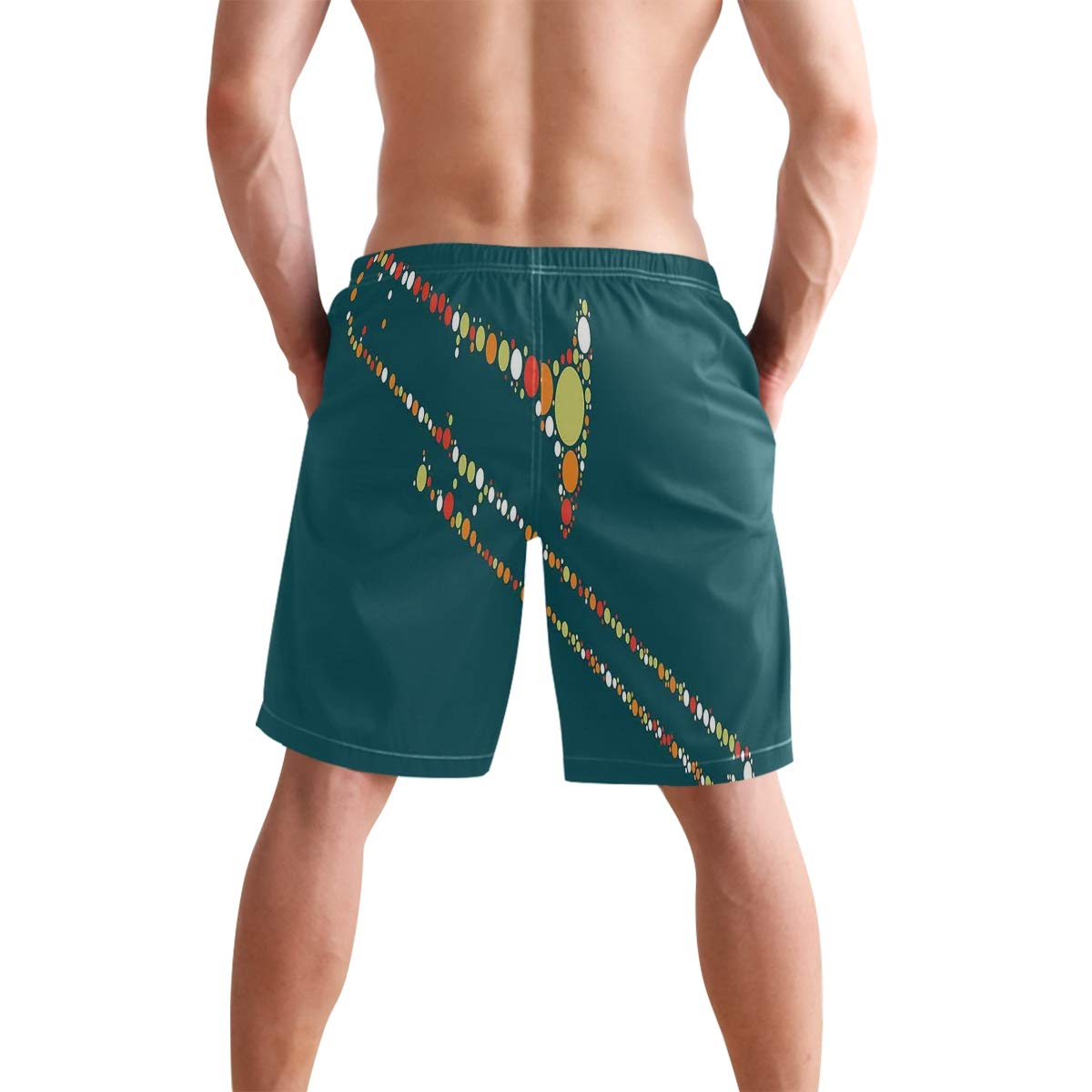 COVASA Mens Summer ShortsAbstract Portrait Design with Flower and Smoky Patter