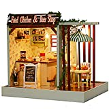 Rylai Wooden Handmade Dollhouse Miniature DIY Kit - Fried Chicken & Beer Shop Series Wooden Dollhouses with Furniture/Parts& Furniture X'mas Gift(1:24 Scale Dollhouse)