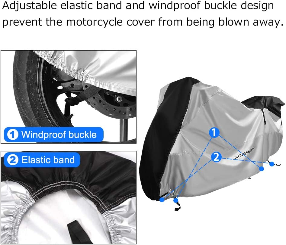 XL Motorbike Cover Motorcycle Cover NEVERLAND 210D Oxford Fabric Waterproof Rain Dust UV Protective Storage Upgrad Zipper Silver