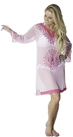 cf51934d349f9 Alki'i Copacabana Long Sleeve Embroidered Beach Tunic/Cover Up, BabyPink S