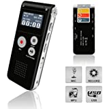 Voice Recorder, Digital Voice Recorder, Voice Activated Recorder with Playback, Rechargeable Tape Dictaphone Recorder for Lec
