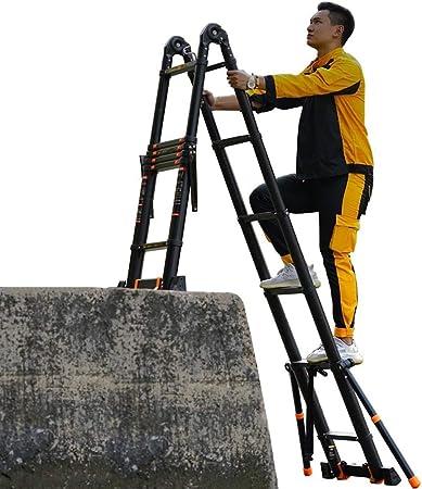 Escalera telescópica De múltiples fines Telescópico Escalera alta con barra estabilizadora, Tarea pesada Plegable Extensión Escaleras del ático, para la casa de la oficina al aire libre interior del d: Amazon.es: Hogar