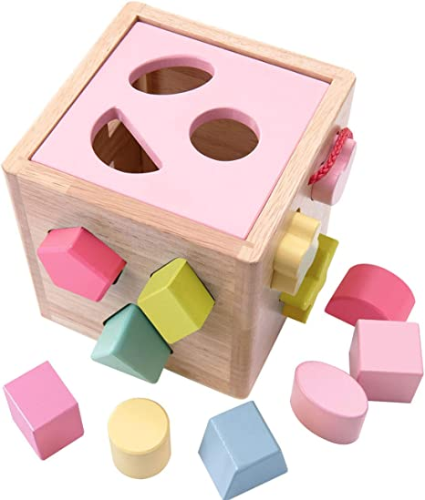 Babe Rock Shape Color Sorter Toddler Toy - Wooden Toddler Toy Color Recognition Shape Sorting Cube Lid for Toddlers Learning Sort and Match Toys for 3 Years Old Boys Girls
