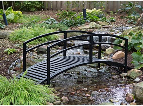 Assembly is Required Black Metal Danbury Garden Bridge 8 ft Double-Arched Rails and a Classic Slatted Walking Surface 93L x 28W x 29H in.