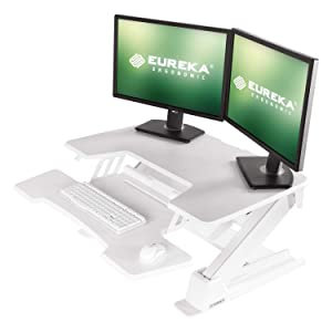 [Upgrade]Eureka Ergonomic V2 Sit To Stand Desk Converter, 36'' Height Adjustable Standing Desk Risers Converters Desktop Stand Computer Workstation Home Office Computer Desk with Keyboard Tray - White