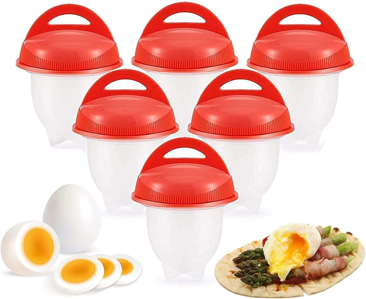 Egg Poacher, Silicone Egg Poachers for Hard Boiled Eggs, Egg Cups As Seen On TV, Hard Soft Maker, Boil Eggs Without the Egg Shell, Hard Boil Cooker Poacher Kitchen Tools (Pack of 6)