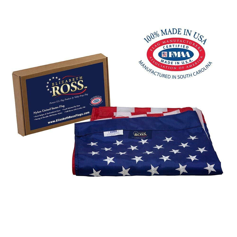 Elizabeth Ross American Flag, Nylon, Perma-NYL, 2.5' x 4', 100% Made in USA, Sewn Stripes, Embroidered Stars, Sleeved, Premier US Products by Valley Forge Flag by Valley Forge