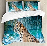 Tiger Queen Size Duvet Cover Set by Ambesonne, Feline Beast in Pond Searching for Prey Sumatra Indonesia Scenes, Decorative 3 Piece Bedding Set with 2 Pillow Shams, Turquoise Light Brown Black