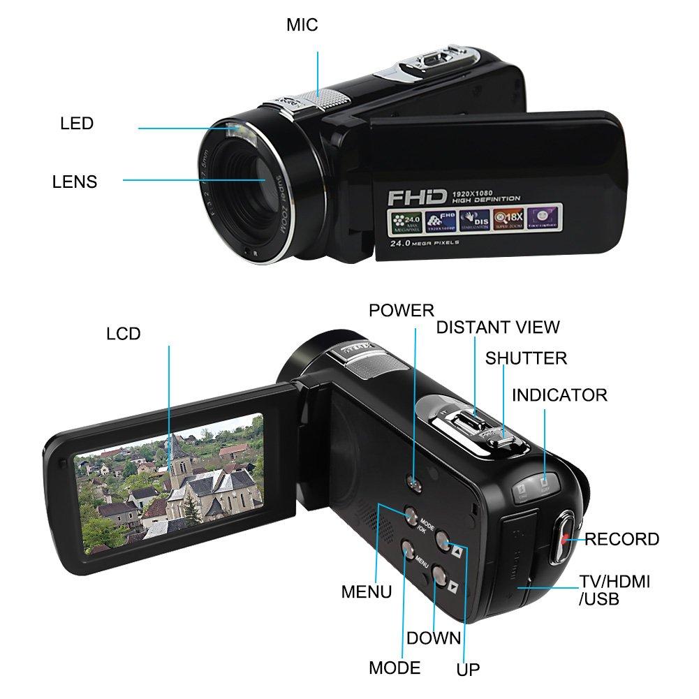 Camcorder Video Camera SEREE Full HD 1080P 24.0 MP Digital Camera 18× Digital Zoom Portable Video Recording