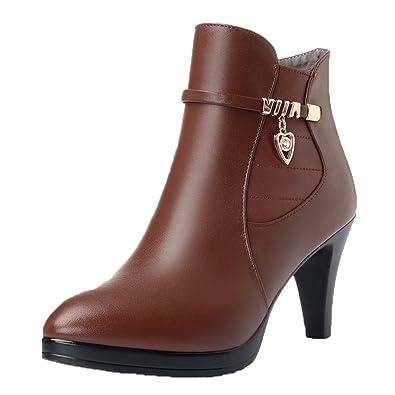 Honeystore Damen Stiefeletten High Heels Spitze Stiletto Ankle Boots mit Reißverschluss Schnalle 7cm Absatz Elegante Schuhe Hellbraun 35CN LoPbcAI