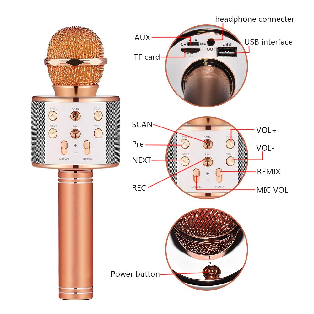 Birthday Gifts for 4-12 Year Old Girls, DIMY Wireless Karaoke Microphone Bluetooth for Kids Toy Microphone Party Favor for Teen Boys Girls Toys Age 4-12 Gifts Toys for Teens Boy Rose Gold DMHK3 by LET'S GO! (Image #6)
