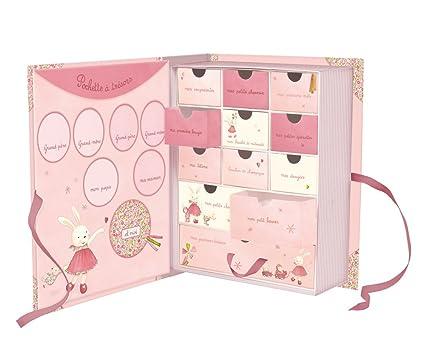 Caja con árbol genealógica y primeros recuerdos para bebé - color rosa