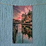 SOCOMIMI Soft Luxury Towel Colorful Sunrise Over Venetian Bay at Naples Florida Apartments Trees Waterscape Purple Green Absorbent Ideal for Everyday use