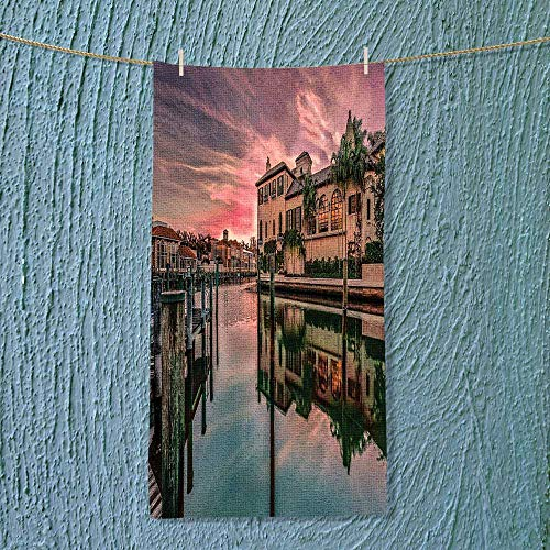 SOCOMIMI Soft Luxury Towel Colorful Sunrise Over Venetian Bay at Naples Florida Apartments Trees Waterscape Purple Green Absorbent Ideal for Everyday use by SOCOMIMI
