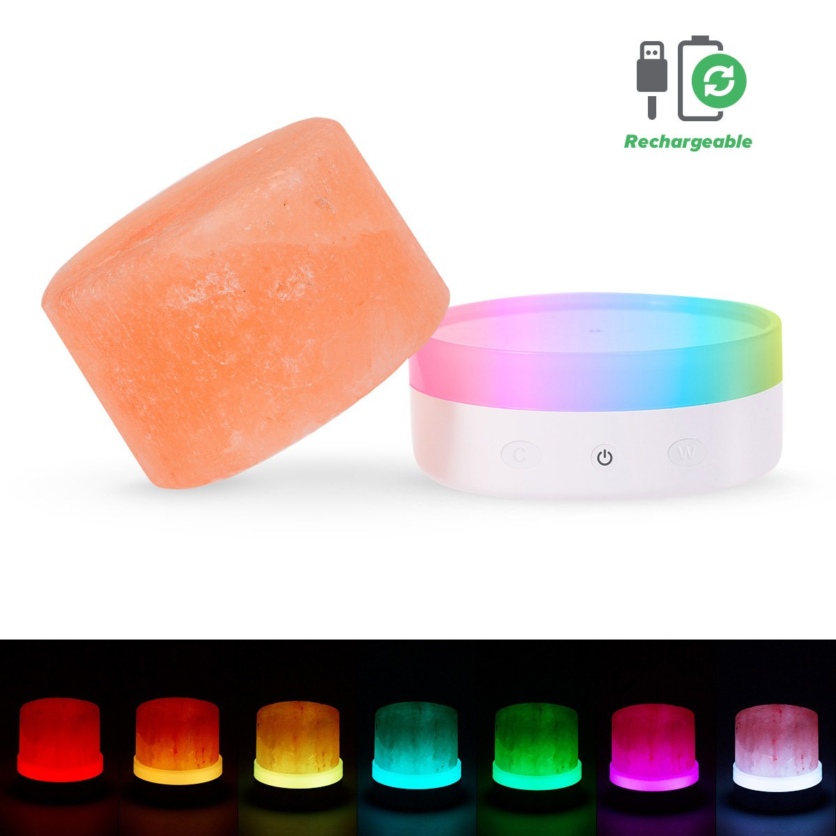 Multicolor Himalayan Salt Lamp, JandCase Dimmable Natural Rock Salt lamp, Night Light for Sleep, Color Changing Lights for Kids Room Home Decor, Touch Dimmer Switch, USB Powered