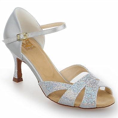 Jia Jia Y2054 Damen Sandalen Ausgestelltes Heel Super Satin mit Pailletten Latein Tanzschuhe
