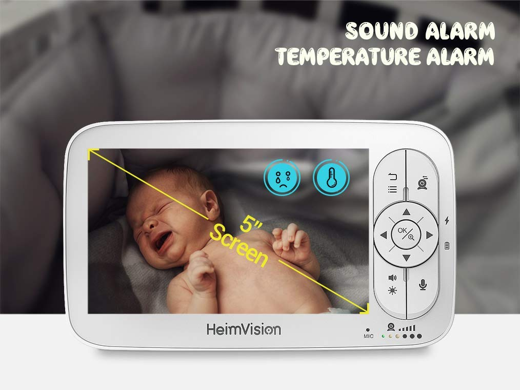 Two-Way Audio HeimVision HM136 HD Video Baby Monitor with 720p Camera Lullaby Temperature/& Sound Alarm 1000ft Connection VOX 5 LCD Display Infrared Night Vision