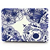 HRH Blue Line Flowers Laptop Body Shell Protective PC Hard Case for Apple MacBook Air 13.3'' (A1466 / A1369)