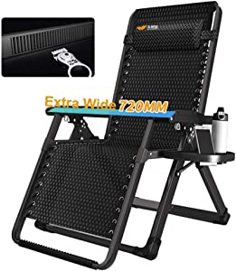 Oversize Zero Gravity Patio Lounger Comfortable Outdoor Garden Office Beach Recliner Folding Portable Home Lounge Chair Supports 200kg (Color : Black)