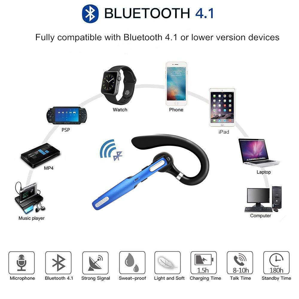 Bluetooth Headset, COMEXION Wireless Bluetooth Earpiece V4.1 Hands-Free Earphones with Stereo Noise Canceling Mic, Compatible iPhone Android Cell Phones Driving/Business/Office (Blue)