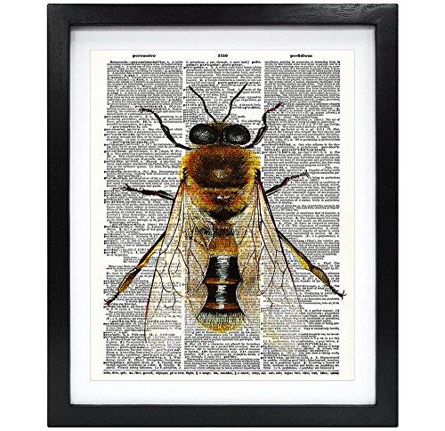 8X10 Unframed Honeybee Upcycled Vintage Dictionary Art Print Book Art Print Home Decor Kids Wall Art V079