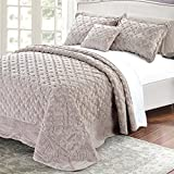 Home Soft Things Serenta Faux Fur Quilted Tatami 4 Piece Bedspread Set. Queen, Taupe