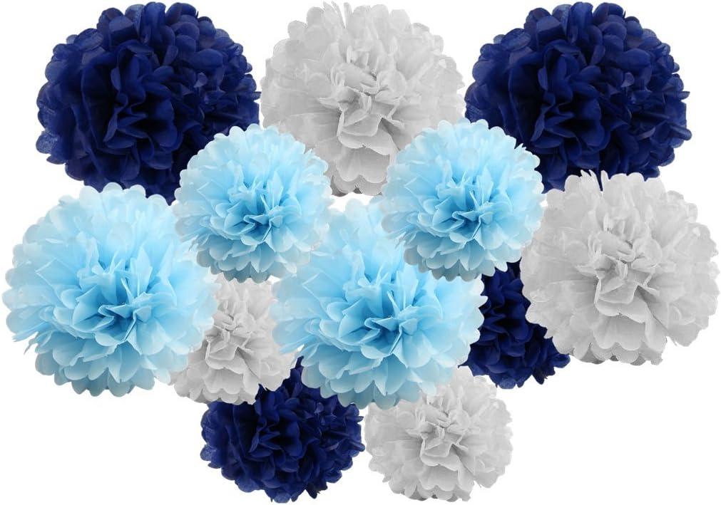 30 cm /& 35 cm Blue Shade mix 12/& 14 Lot de 12 pompons/mixtes en papier de soie Guirlande /à suspendre D/écorations de f/ête de mariage