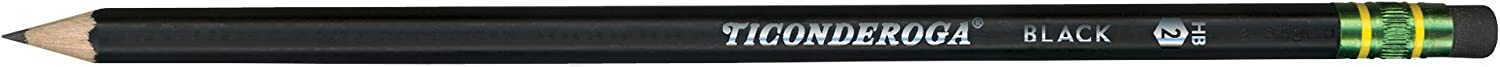 Ticonderoga Pencils, Wood-Cased, Graphite #2 HB Soft, Black, 24-Pack (13926) : Wood Lead Pencils : Office Products