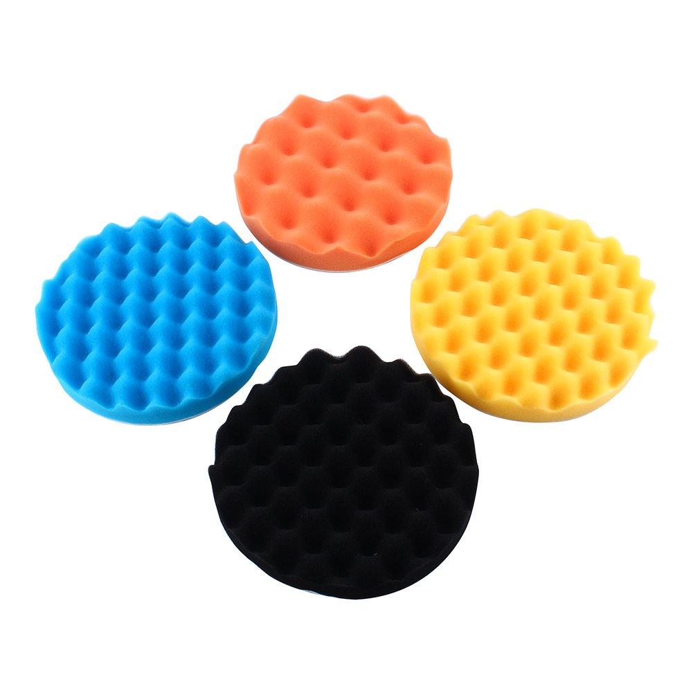 7'' Car Buffing Pads Polishing Sponge Pads Kit for Car Sanding Polisher Buffer Wash Cleaning 4pcs Set