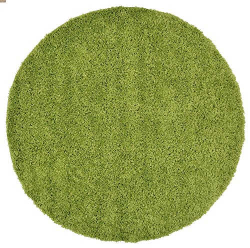 RugStylesOnline, Shaggy Collection Shag Area Rugs, 5' Round - Green (Solid Round Rug Green)
