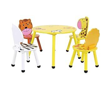 Bentley - Set de Muebles Infantiles Perfecto para Sala de Juegos - Mesa y 4 sillas - Madera - Motivo Safari