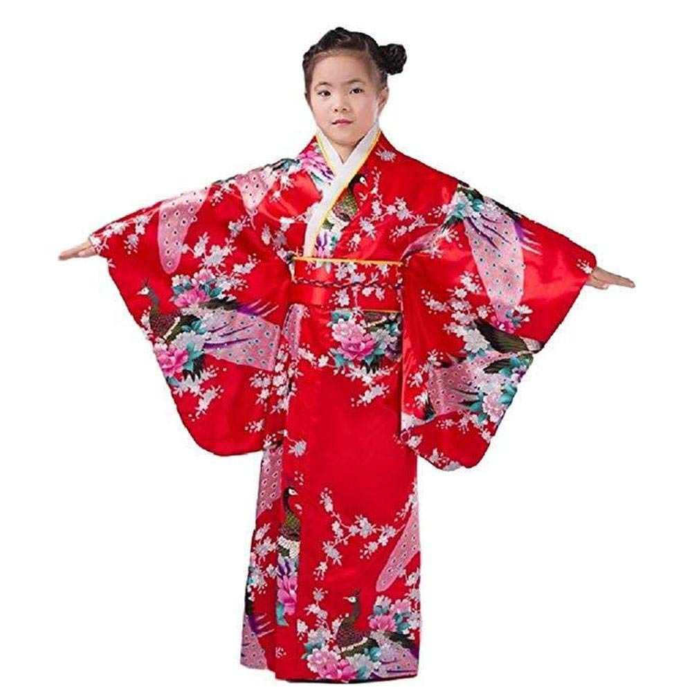 Japanese Traditional Dress Kimono Robe for Kids Girls Costume(Red150cm) by Elibelle