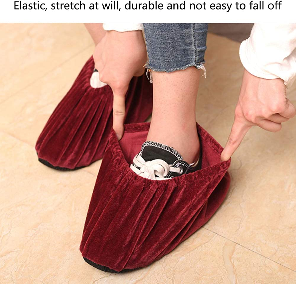 Washable Overshoes Reusable Flannel Overshoes Non-Slip Shoe Covers for Daily Use Reusable Indoor Elastic Boot Cover SENDILI Shoe Covers