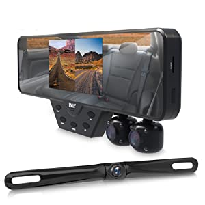 Upgraded 2018 Dashcam Backup Car Camera - Rear View Mirror Car Recorder, Record In Your Car , Front & Back Of Your Vehicle 3 Camera System Video Recorder DVR Wide Lens G-Sensor Loop Recording