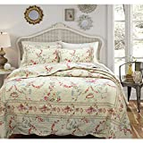 Cozy Line Antique Rose Quilt Set, Full/Queen, Cream Yellow