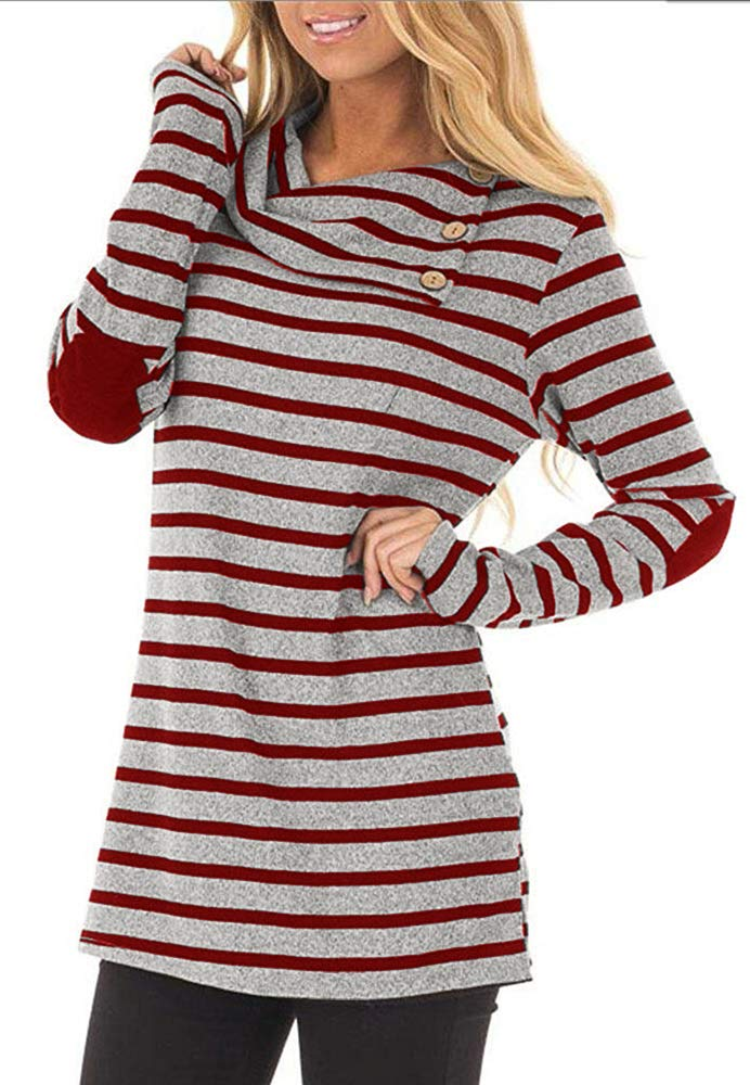 ETCYY Women's Long Sleeve Striped Button Cowl Neck Tunic Sweatshirts Tops