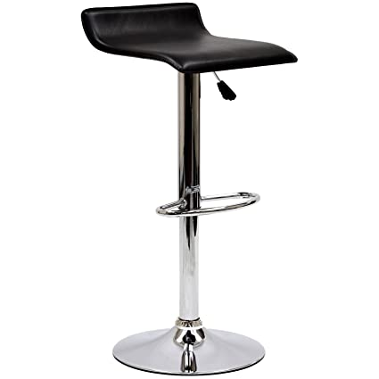 Modway Gloria Retro Modern Faux Leather Bar Stools In Black