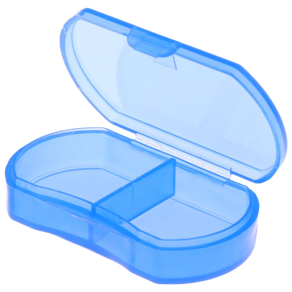BecauseOf 2 Compartment Pill Box Supplement Case for Pocket or Purse, Travel Medication Organizer Case (Blue)