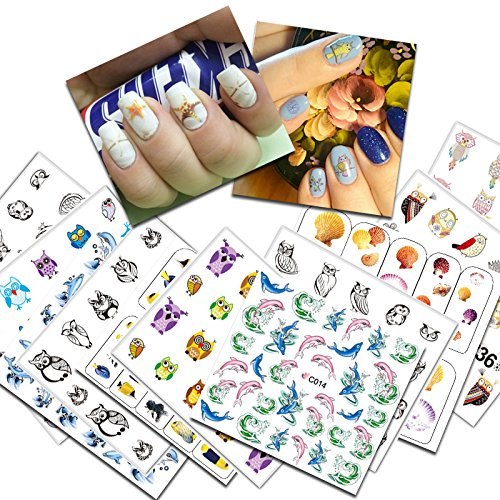 KADS 19pcs/set Cute Owls&Dolphins Design Transfer Nail Art Stickers Water Nail Art Decals For Nail Decoration Tools ()