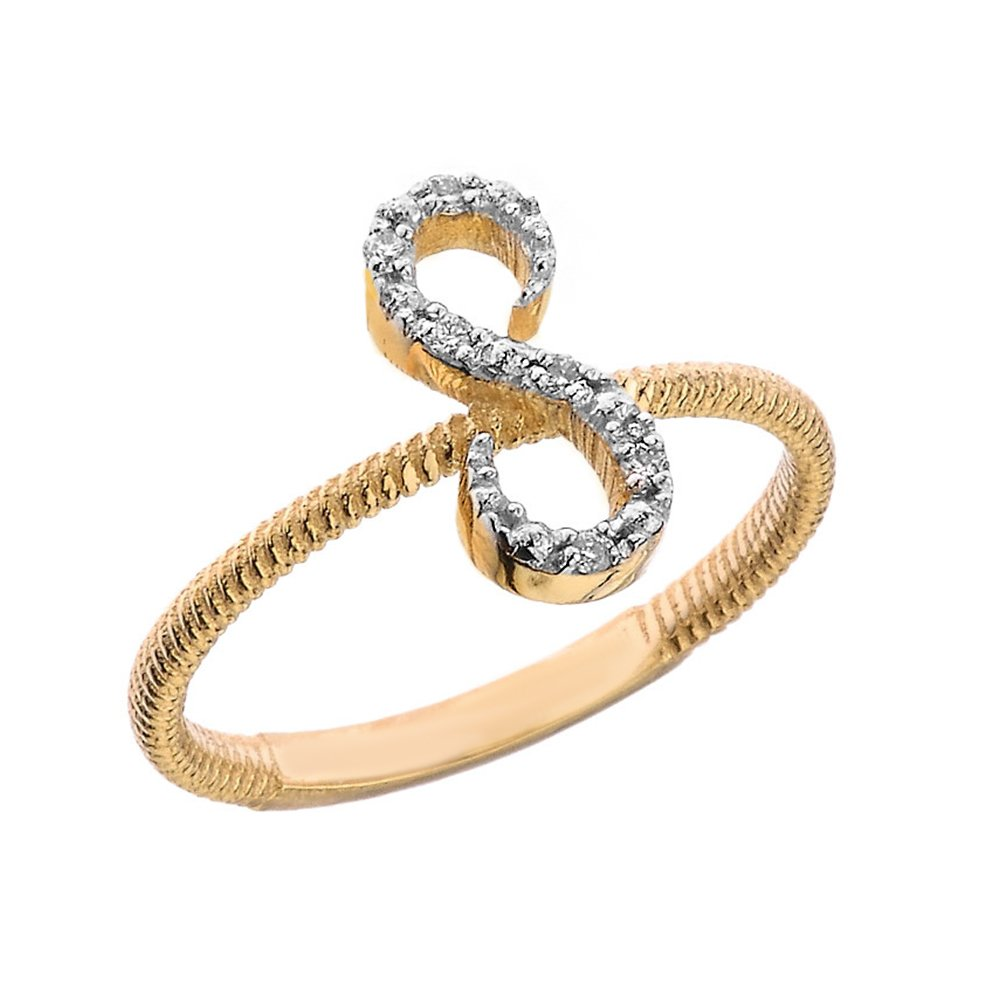 Women's 10k Yellow Gold Diamond Script Initial Letter''S'' Stackable Rope Design Ring (Size 11.75)