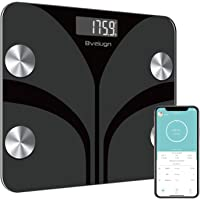Body Fat Scale, Smart Wireless Digital Bathroom BMI Weight Scale, Body Composition Analyzer Health Monitor with Tempered Glass Platform Large Digital Backlit LCD with Smartphone App - Black